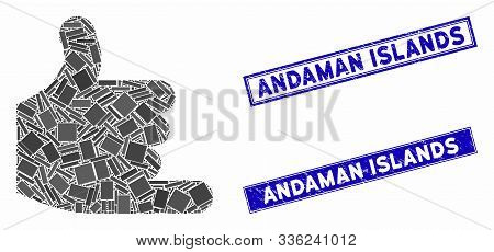 Mosaic Call Pictogram And Rectangle Andaman Islands Watermarks. Flat Vector Call Mosaic Pictogram Of