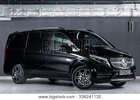 Novosibirsk, Russia - October 10, 2019:  New Black Mercedes-benz V-class, Front View.  Photography O