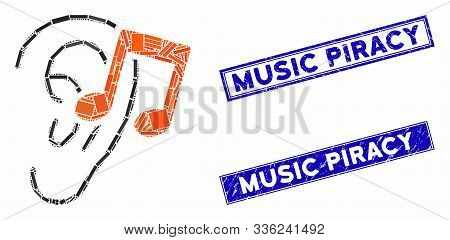Mosaic Listen Music Icon And Rectangle Music Piracy Seal Stamps. Flat Vector Listen Music Mosaic Ico