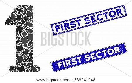 Mosaic Digit One Pictogram And Rectangle First Sector Seal Stamps. Flat Vector Digit One Mosaic Pict