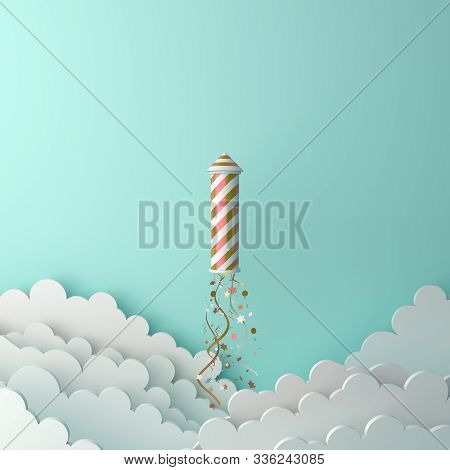 Happy New Year 2020 Background, Firework Rocket, Glittering Confetti Cloud On Green, New Year Abstra