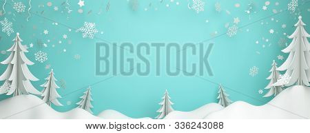 Winter Abstract Background Design Creative Concept, Snow Icon, Pine, Spruce, Fir Tree Art Paper Cut,