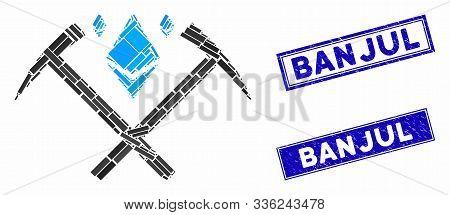 Mosaic Ethereum Crystal Mining Hammers Pictogram And Rectangular Banjul Stamps. Flat Vector Ethereum