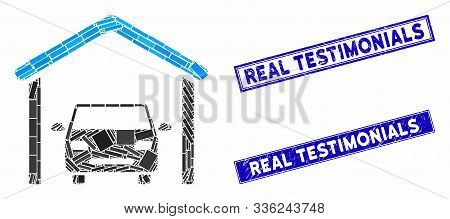 Mosaic Garage Car Icon And Rectangular Real Testimonials Seal Stamps. Flat Vector Garage Car Mosaic