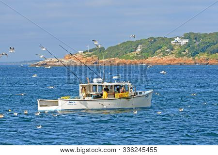 Gloucester, Ma, Usa - July 25, 2015: Lobster Fishing Boat At Port Of Gloucester City, Gloucester, Ma