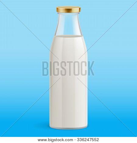 White Yogurt Milk Plastic Bottle. Illustration Isolated On Blue Background. Glass Bottle With Milk.