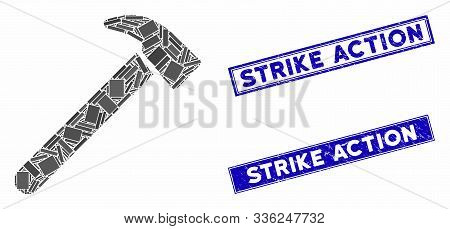 Mosaic Hammer Pictogram And Rectangle Strike Action Stamps. Flat Vector Hammer Mosaic Pictogram Of R