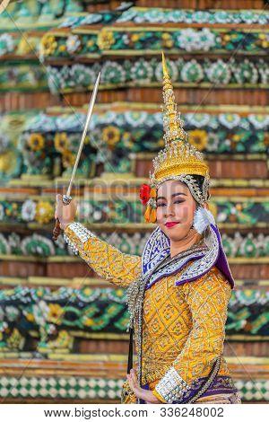 Bangkok, Thailand - November 03, 2018: Khon Performance, Thai Traditional Ramayana Masked Drama Art