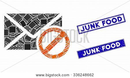 Mosaic Stop Spam Icon And Rectangular Junk Food Seal Stamps. Flat Vector Stop Spam Mosaic Icon Of Sc