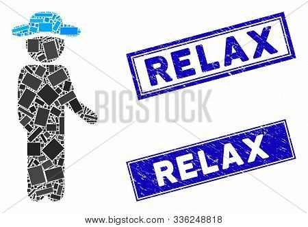 Mosaic Gentleman Idler Pictogram And Rectangular Relax Watermarks. Flat Vector Gentleman Idler Mosai