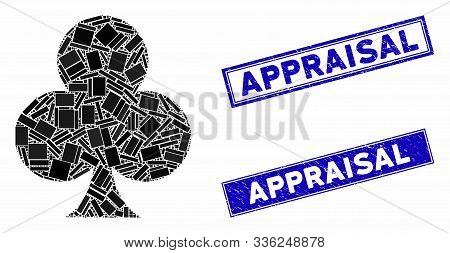 Mosaic Clubs Suit Icon And Rectangular Appraisal Stamps. Flat Vector Clubs Suit Mosaic Icon Of Rando