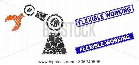 Mosaic Industrial Manipulator Icon And Rectangular Flexible Working Watermarks. Flat Vector Industri