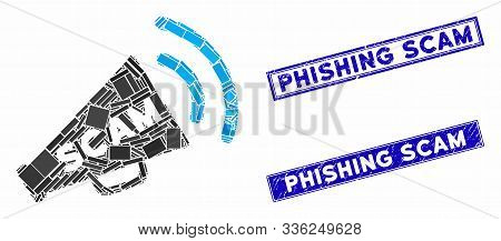 Mosaic Scam Alert Megaphone Pictogram And Rectangular Phishing Scam Seals. Flat Vector Scam Alert Me