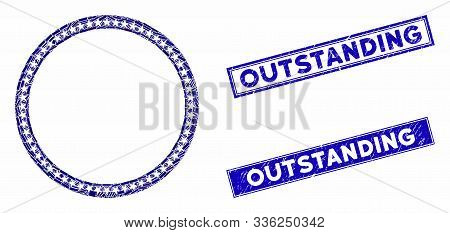 Mosaic Star Circle Frame Icon And Rectangle Outstanding Stamps. Flat Vector Star Circle Frame Mosaic