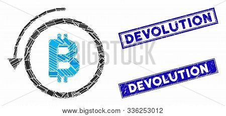 Mosaic Undo Bitcoin Payment Pictogram And Rectangular Devolution Seal Stamps. Flat Vector Undo Bitco