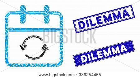 Mosaic Update Day Icon And Rectangle Dilemma Stamps. Flat Vector Update Day Mosaic Pictogram Of Scat