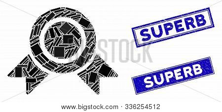 Mosaic Honour Medal Icon And Rectangle Superb Rubber Prints. Flat Vector Honour Medal Mosaic Icon Of