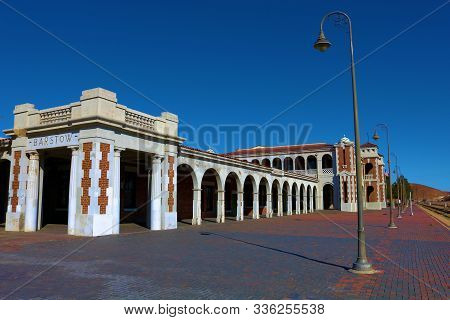 October 25, 2019 In Barstow, Ca:  Historic Train Station Built In 1911 With A Spacious Patio Waiting