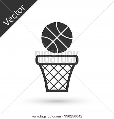 Grey Basketball Ball And Basket Icon Isolated On White Background. Ball In Basketball Hoop. Vector I
