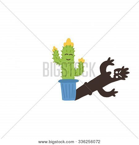 Informative Flyer Small Flowering Cactus Shadow. Desert Plant Flower Spikes, Planted Pot, Sketching