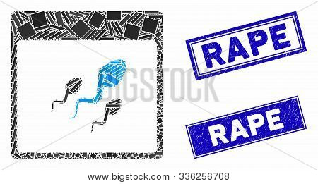 Mosaic Spermatozoids Calendar Page Pictogram And Rectangle Rape Stamps. Flat Vector Spermatozoids Ca