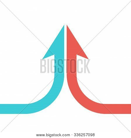 Collaboration, Merger, Partnership And Growth Concept. Arrow Shaped By Two Turquoise Blue And Red Pa