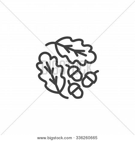 Oak Leaves And Acorns Line Icon. Linear Style Sign For Mobile Concept And Web Design. Oak Tree Leave