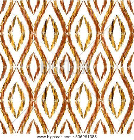 Ikat Ogee Seamless Vector Pattern Illustration. Ethnic Fabric Print Geometric Ikat Pattern. Cute Oge