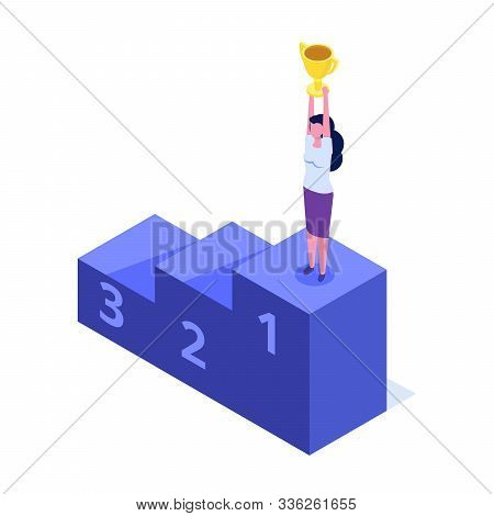 Skill Level, Education Level And Staff. The Path To Success Isometric Consept. Vector Illustration.