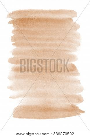 Watercolor Hand Painted Abstract Brown Background. Subtle Light Beige Color Ink Gradient On Textured