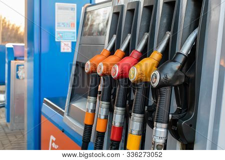 21-11-2019, Moscow Region, Russia. Pumps With Different Types Of Gasoline And Diesel Fuel At A Gas S