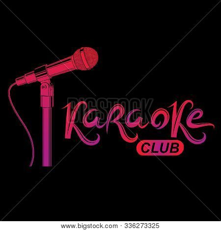 Karaoke Club Inscription, Nightlife Entertainment Conceptual Vector Emblem Created Using Recorder Mi