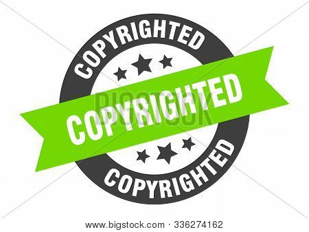 Copyrighted Sign. Copyrighted Black-green Round Ribbon Sticker