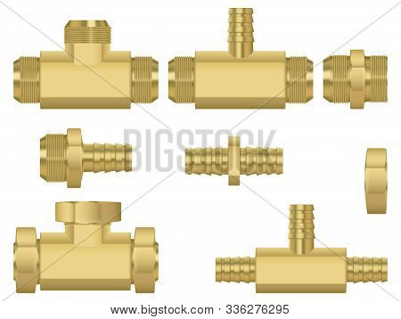 Zinc Metal Pipe Connetors Set. Vector 3d Illustration Isolated On White Background