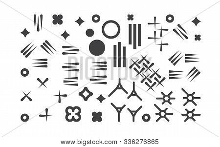 Set Of Abstract 1980s Fashion Vector Elements For Memphis Design. Modern Graphic Shapes Collection F