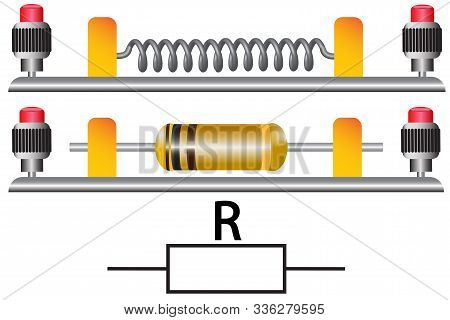 The Figure Shows The Types Of Constant Resistors And Their Designation On Electrical Circuits.