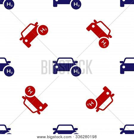 Blue And Red Hydrogen Car Icon Isolated Seamless Pattern On White Background. H2 Station Sign. Hydro