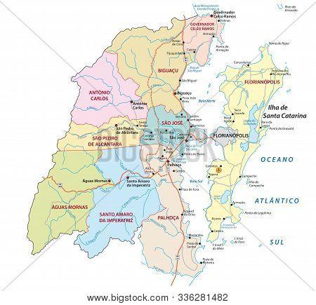 Administrative Map Metropolitan Area Florianopolis In The Southern Brazilian State Of Santa Catarina