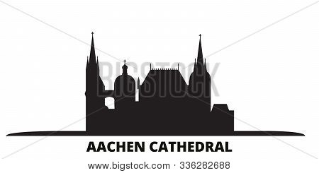 Germany, Aachen Cathedral City Skyline Isolated Vector Illustration. Germany, Aachen Cathedral Trave