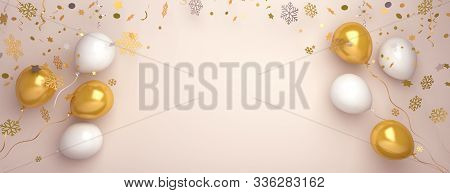 Winter Background, Happy New Year Banner, Gold And White Balloon, Snow Icon Confetti, New Year Templ