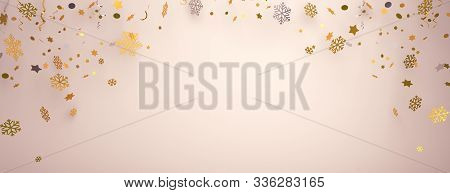 Happy New Year Background Abstract, Winter Banner, Gold Silver Snow Icon Confetti, New Year 2020, Wi