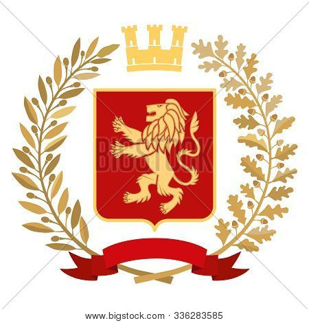 Heraldic Image. On The Red Coat Of Arms Is A Gold Stylized Lion. On Top Of The Decorative Crown, On