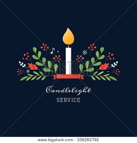 Candle And Ornaments Christmas Eve Candlelight Service Invitation. Vector Design