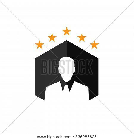 Ceo Logo Vector Graphic Design. Man With Suit Businessman Icon. Five Stars Executive Boss Symbol