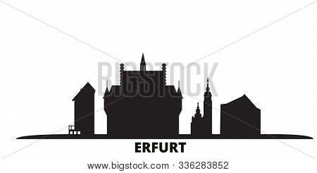 Germany, Erfurt City Skyline Isolated Vector Illustration. Germany, Erfurt Travel Black Cityscape