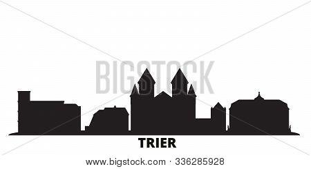 Germany, Trier City Skyline Isolated Vector Illustration. Germany, Trier Travel Black Cityscape