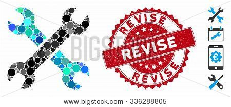 Mosaic Wrenches Icon And Corroded Stamp Seal With Revise Phrase. Mosaic Vector Is Composed With Wren