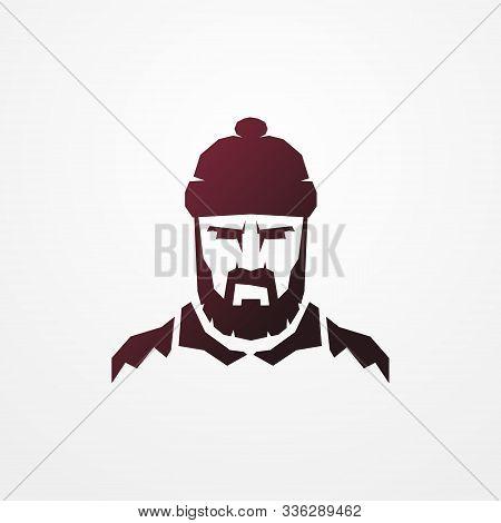 Face Of A Bearded Lumberjack In Hat. Head Of A Worker Man In Flat Silhouette Style. Shop Logotype, B