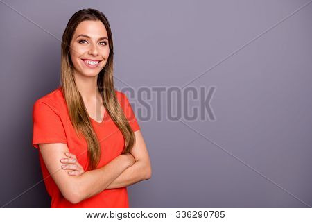 Profile Photo Of Amazing Attractive Business Lady With Crossed Hands Toothy Smiling Responsible Pers