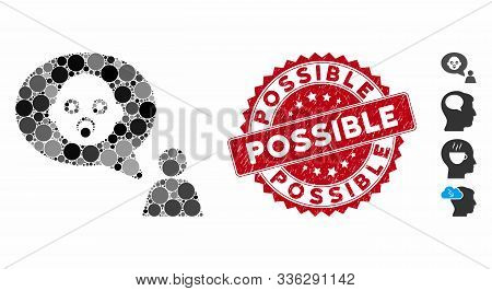 Mosaic Baby Thinking Person Icon And Rubber Stamp Seal With Possible Text. Mosaic Vector Is Created